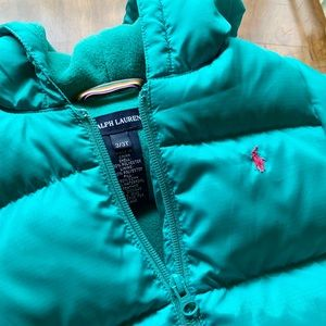 RALPH LAUREN Down Jacket with hoodie New 3/3T